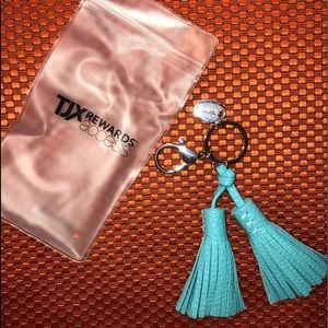 TJX Tassel Key Fob Car Keychain Blue/Teal, New